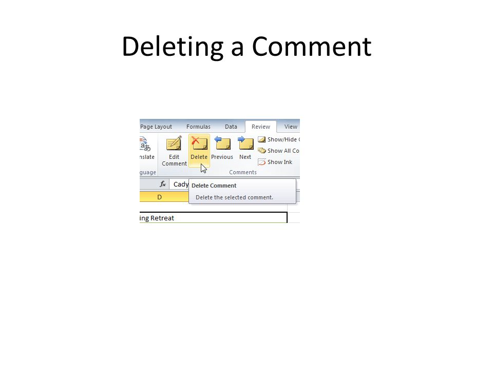 Deleting a Comment