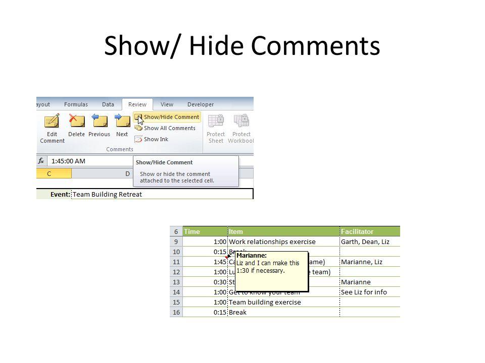 Show/ Hide Comments