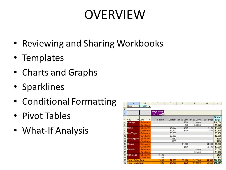 OVERVIEW Reviewing and Sharing Workbooks Templates Charts and Graphs Sparklines Conditional Formatting Pivot Tables What-If Analysis