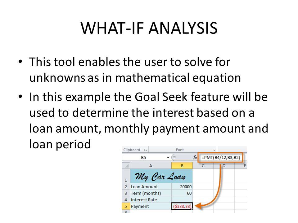 WHAT-IF ANALYSIS This tool enables the user to solve for unknowns as in mathematical equation In this example the Goal Seek feature will be used to determine the interest based on a loan amount, monthly payment amount and loan period