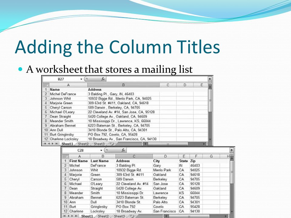 Adding the Column Titles A worksheet that stores a mailing list