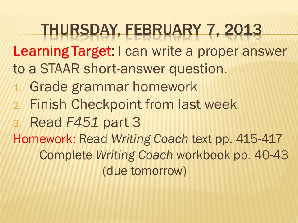 Learning Target: I can write a proper answer to a STAAR short-answer question.