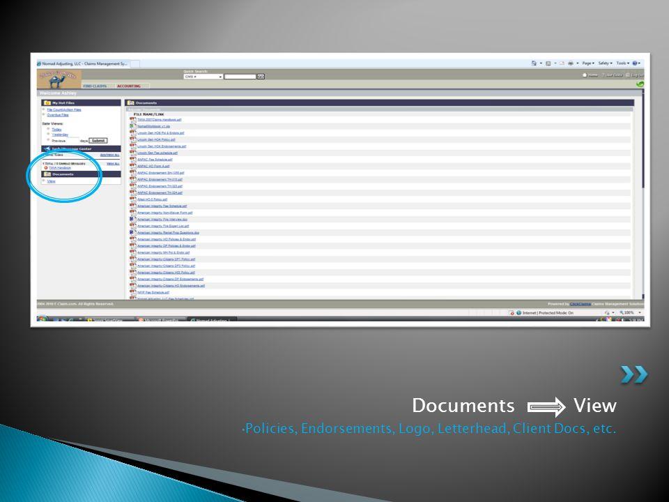 Documents View Policies, Endorsements, Logo, Letterhead, Client Docs, etc.