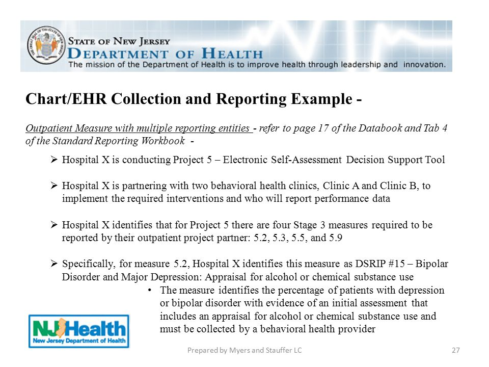 Chart/EHR Collection and Reporting Example - Outpatient Measure with multiple reporting entities - refer to page 17 of the Databook and Tab 4 of the S