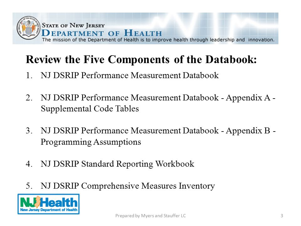 Review the Five Components of the Databook: 1.NJ DSRIP Performance Measurement Databook 2.NJ DSRIP Performance Measurement Databook - Appendix A - Sup