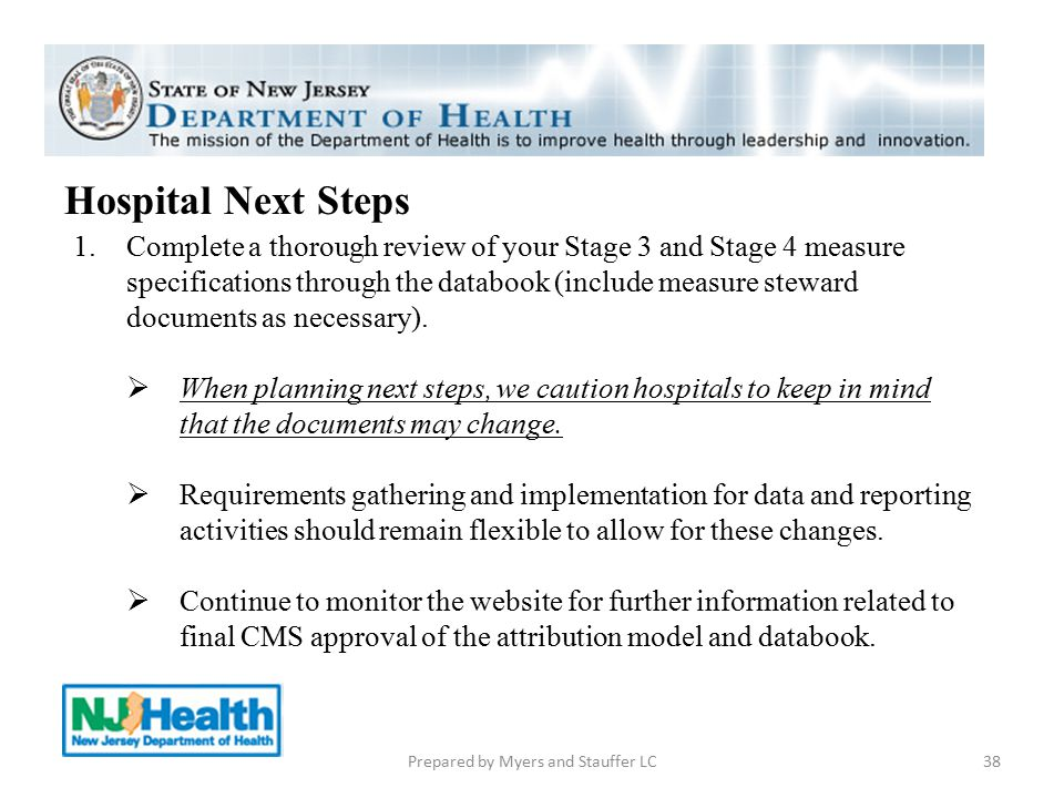 38 Hospital Next Steps 1.Complete a thorough review of your Stage 3 and Stage 4 measure specifications through the databook (include measure steward d
