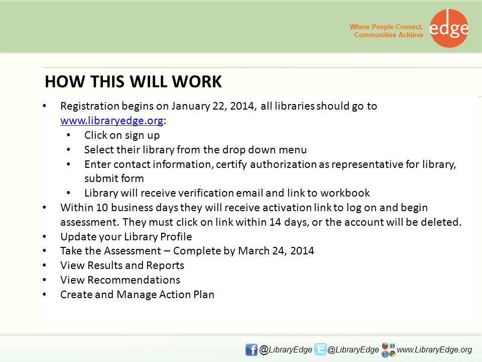 HOW THIS WILL WORK Registration begins on January 22, 2014, all libraries should go to www.libraryedge.org: www.libraryedge.org Click on sign up Select their library from the drop down menu Enter contact information, certify authorization as representative for library, submit form Library will receive verification email and link to workbook Within 10 business days they will receive activation link to log on and begin assessment.