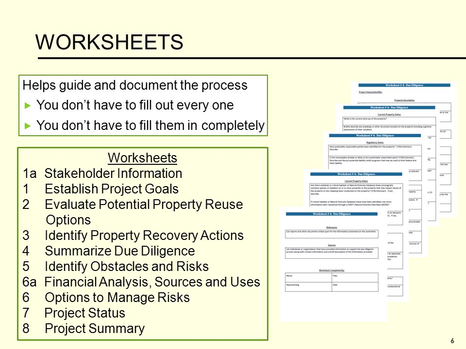 WORKSHEETS Helps guide and document the process  You don't have to fill out every one  You don't have to fill them in completely Worksheets 1a Stake