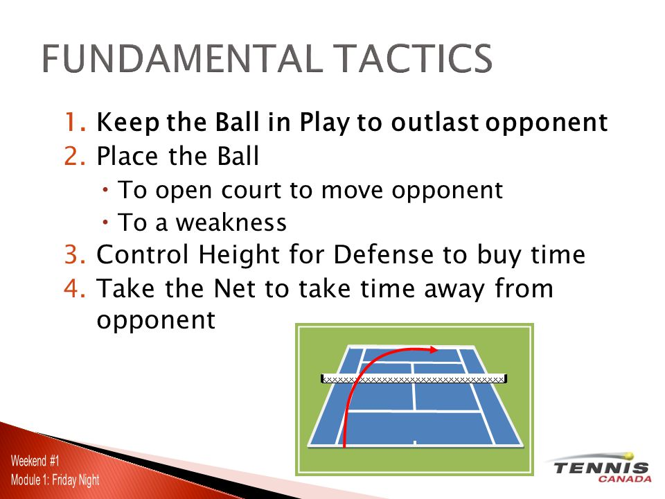 1.Keep the Ball in Play to outlast opponent 2.Place the Ball  To open court to move opponent  To a weakness 3.Control Height for Defense to buy time 4.Take the Net to take time away from opponent