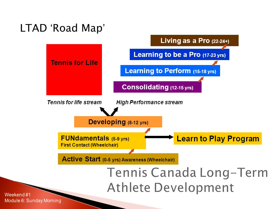 LTAD 'Road Map' Active Start (0-5 yrs) Awareness (Wheelchair) Learning to Perform (15-18 yrs) Tennis for Life Learning to be a Pro (17-23 yrs) Consolidating (12-15 yrs) FUNdamentals (5-9 yrs) First Contact (Wheelchair) Living as a Pro (22-24+) Tennis for life streamHigh Performance stream Learn to Play Program Developing (8-12 yrs)