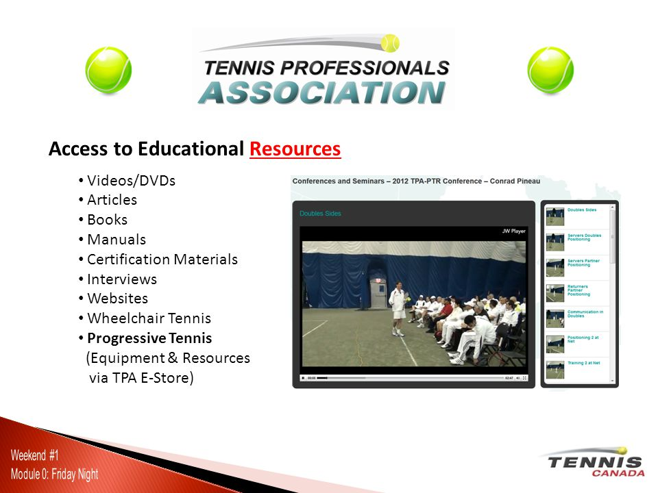 Access to Educational Resources Videos/DVDs Articles Books Manuals Certification Materials Interviews Websites Wheelchair Tennis Progressive Tennis (Equipment & Resources via TPA E-Store)