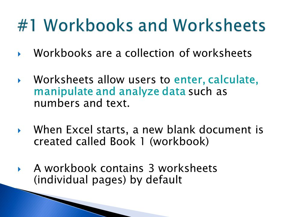  Workbooks are a collection of worksheets  Worksheets allow users to enter, calculate, manipulate and analyze data such as numbers and text.