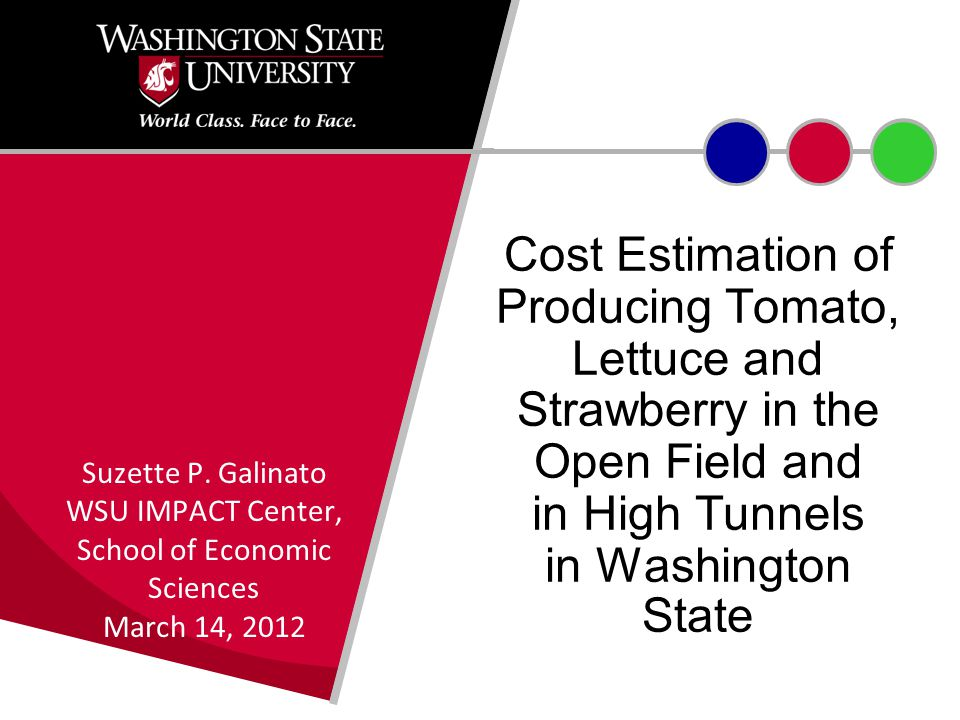 Cost Estimation of Producing Tomato, Lettuce and Strawberry in the Open Field and in High Tunnels in Washington State Suzette P.