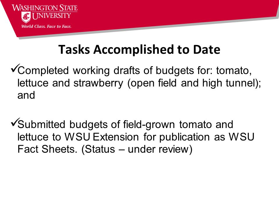 Tasks Accomplished to Date Completed working drafts of budgets for: tomato, lettuce and strawberry (open field and high tunnel); and Submitted budgets of field-grown tomato and lettuce to WSU Extension for publication as WSU Fact Sheets.
