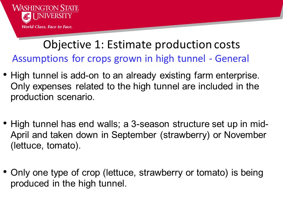 Assumptions for crops grown in high tunnel - General High tunnel is add-on to an already existing farm enterprise.
