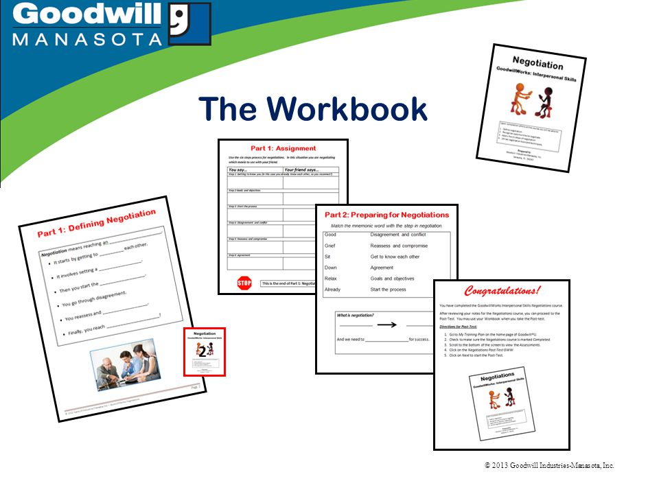 © 2013 Goodwill Industries-Manasota, Inc. The Workbook 2