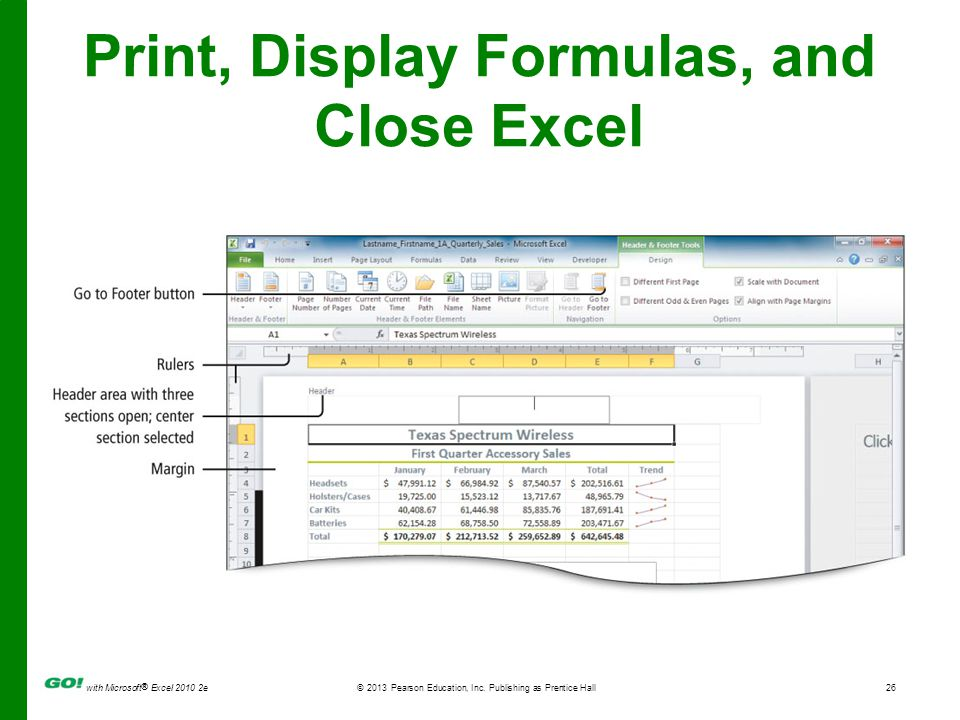 with Microsoft ® Excel 2010 2e © 2013 Pearson Education, Inc. Publishing as Prentice Hall26 Print, Display Formulas, and Close Excel
