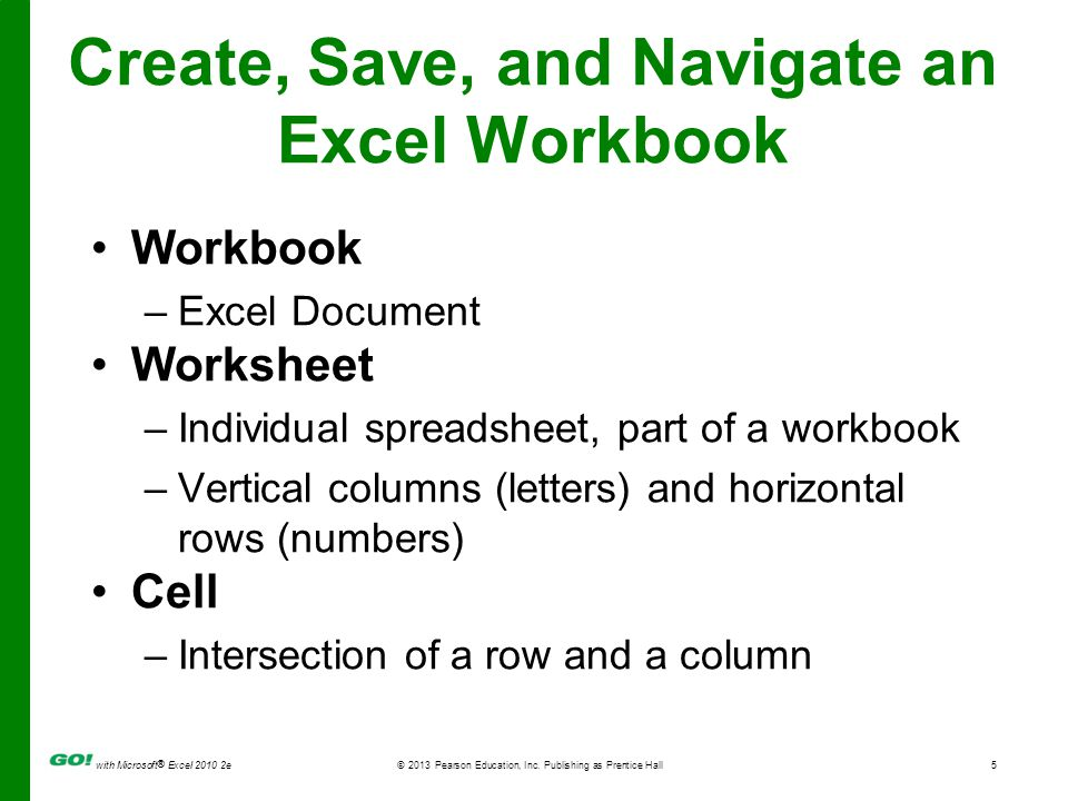 with Microsoft ® Excel 2010 2e © 2013 Pearson Education, Inc. Publishing as Prentice Hall5 Create, Save, and Navigate an Excel Workbook Workbook –Exce