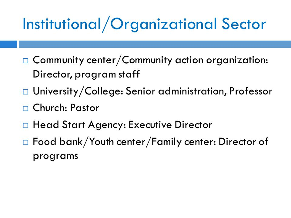 Institutional/Organizational Sector  Community center/Community action organization: Director, program staff  University/College: Senior administration, Professor  Church: Pastor  Head Start Agency: Executive Director  Food bank/Youth center/Family center: Director of programs