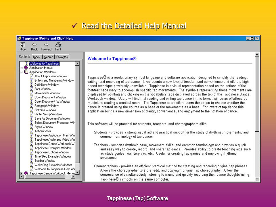 Tappinese (Tap) Software Read the Detailed Help Manual Read the Detailed Help Manual
