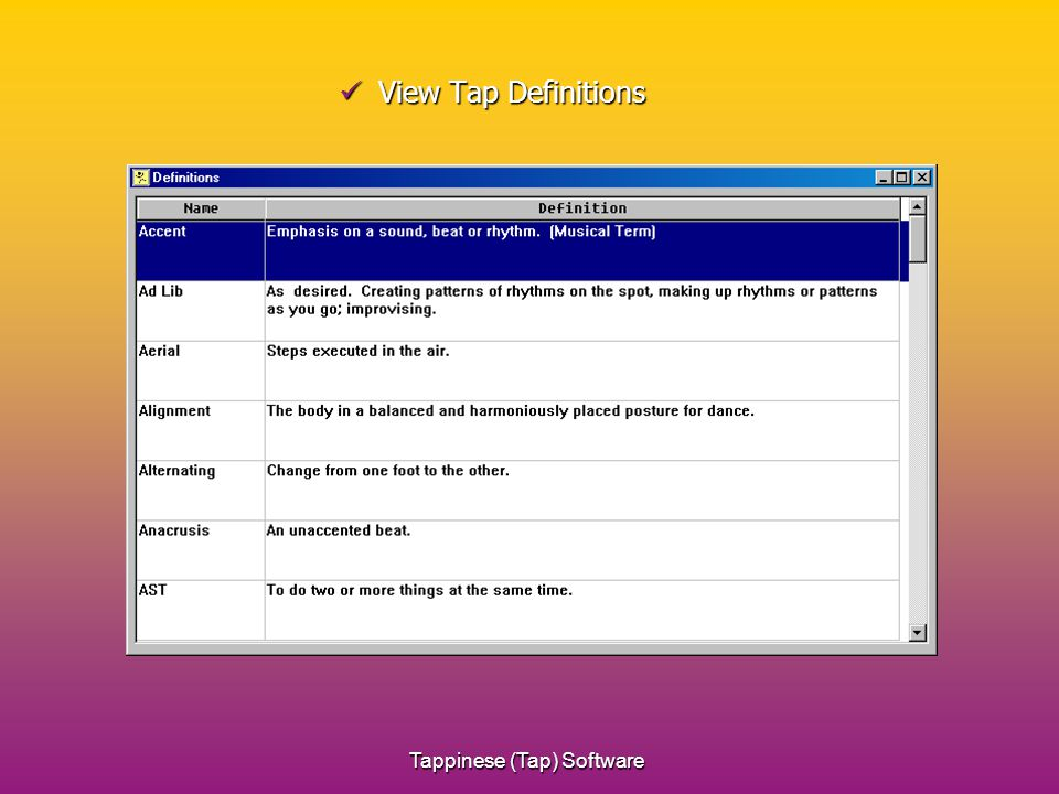 Tappinese (Tap) Software View Tap Definitions View Tap Definitions