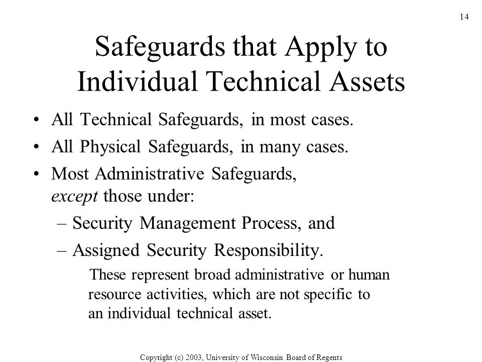 Copyright (c) 2003, University of Wisconsin Board of Regents 14 Safeguards that Apply to Individual Technical Assets All Technical Safeguards, in most cases.