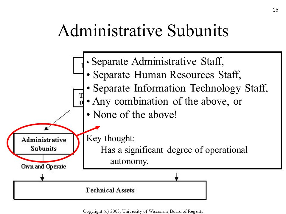 Copyright (c) 2003, University of Wisconsin Board of Regents 16 Administrative Subunits Separate Administrative Staff, Separate Human Resources Staff, Separate Information Technology Staff, Any combination of the above, or None of the above.