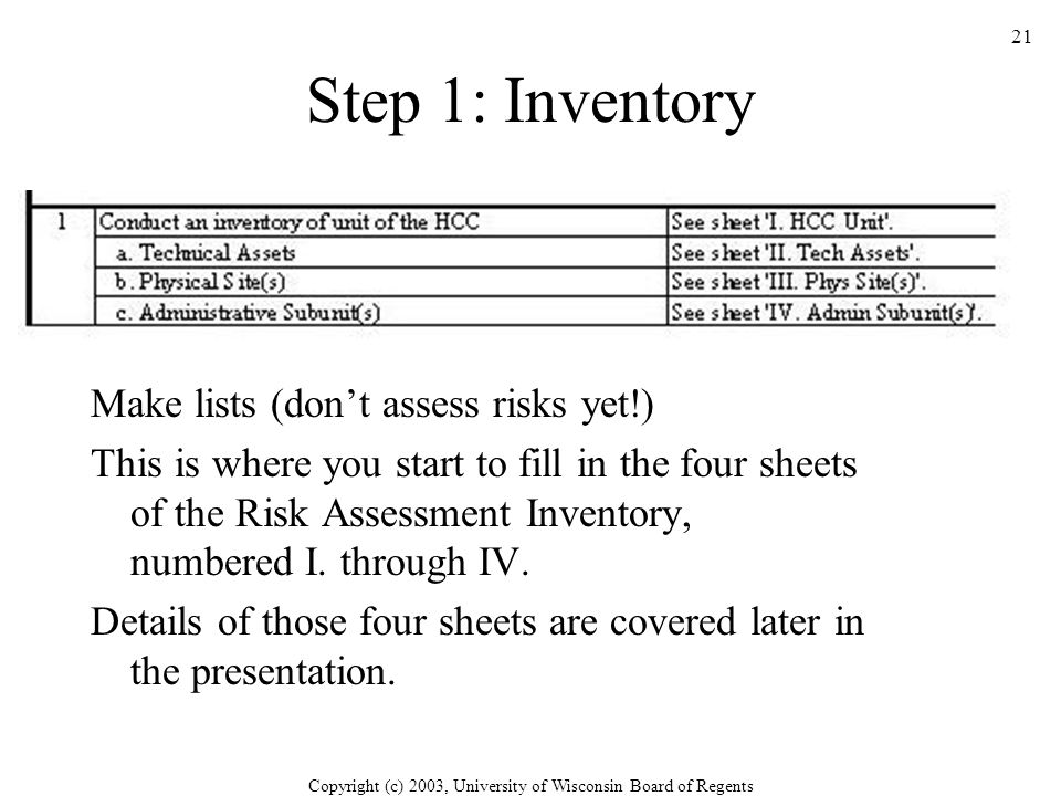 Copyright (c) 2003, University of Wisconsin Board of Regents 21 Step 1: Inventory Make lists (don't assess risks yet!) This is where you start to fill in the four sheets of the Risk Assessment Inventory, numbered I.