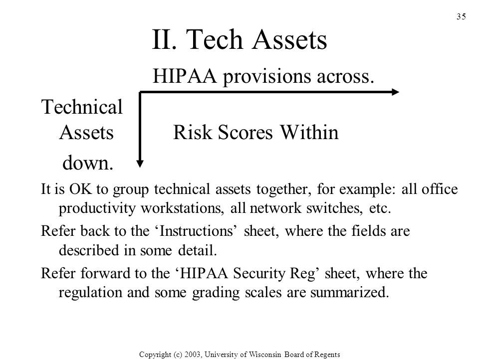 Copyright (c) 2003, University of Wisconsin Board of Regents 35 HIPAA provisions across.