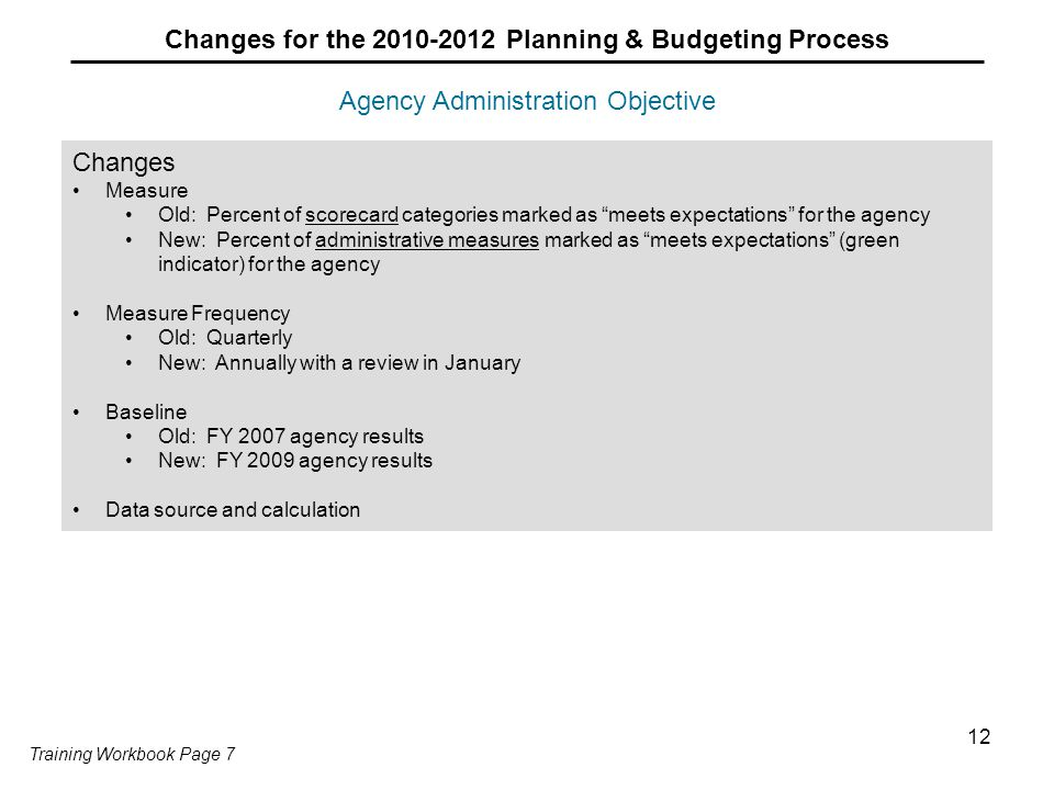 12 Agency Administration Objective Changes for the 2010-2012 Planning & Budgeting Process Changes Measure Old: Percent of scorecard categories marked as meets expectations for the agency New: Percent of administrative measures marked as meets expectations (green indicator) for the agency Measure Frequency Old: Quarterly New: Annually with a review in January Baseline Old: FY 2007 agency results New: FY 2009 agency results Data source and calculation Training Workbook Page 7