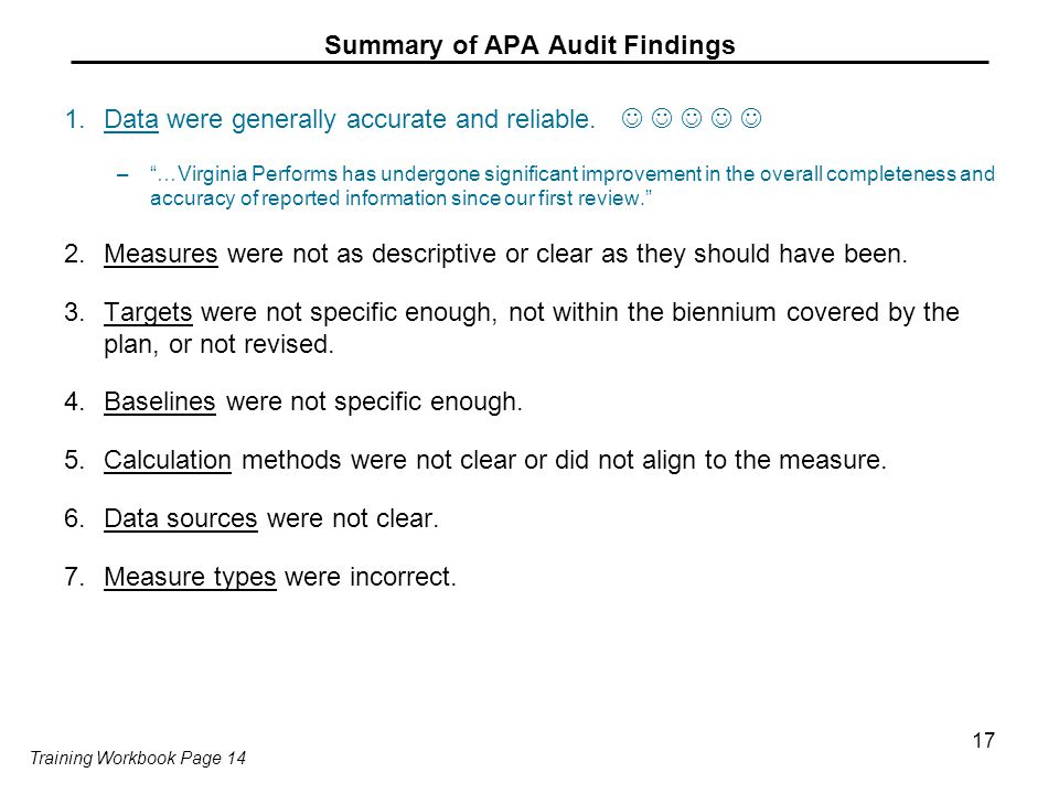Summary of APA Audit Findings 1.Data were generally accurate and reliable.