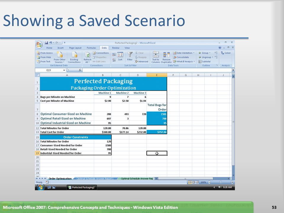 Showing a Saved Scenario Microsoft Office 2007: Comprehensive Concepts and Techniques - Windows Vista Edition53