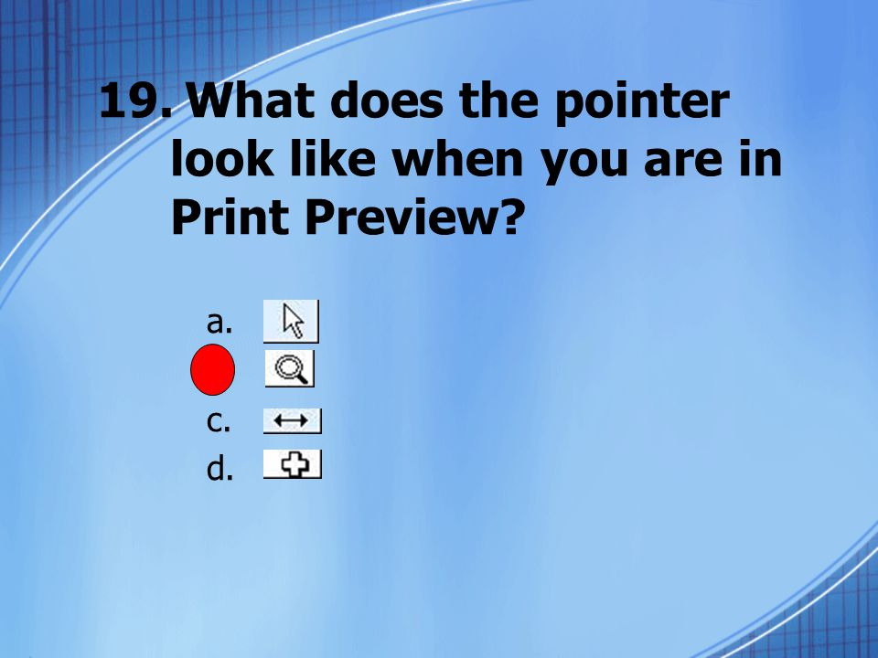 19.What does the pointer look like when you are in Print Preview a. b. c. d.