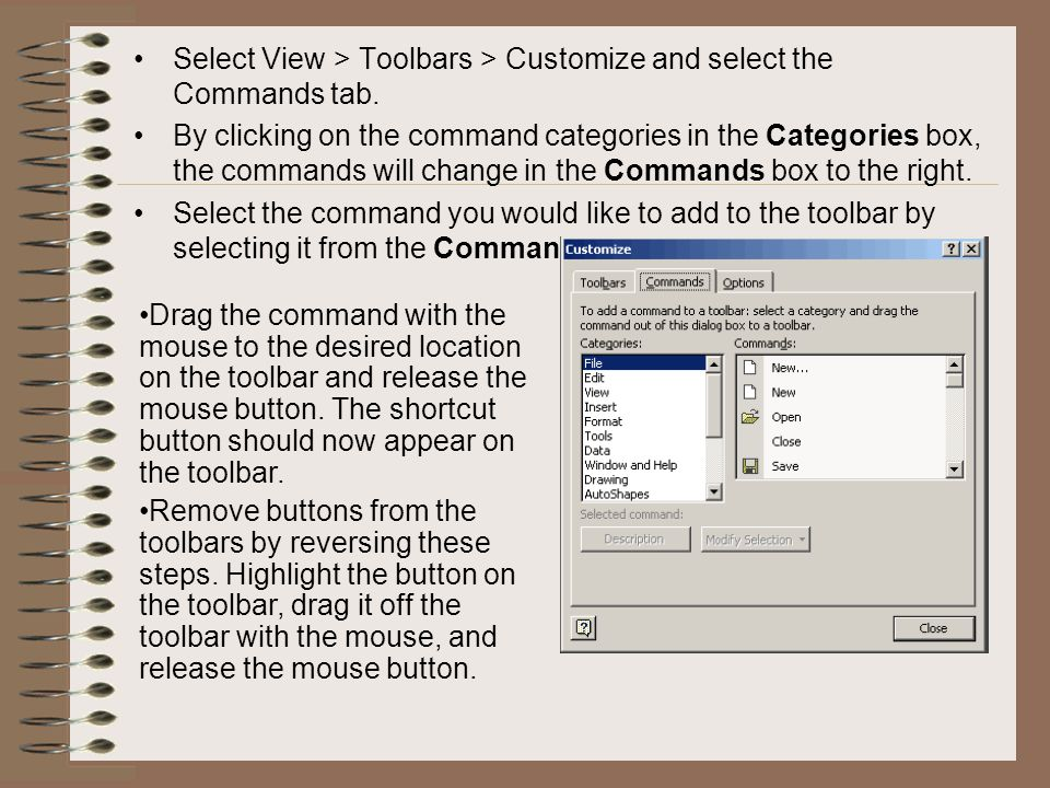 Select View > Toolbars > Customize and select the Commands tab. By clicking on the command categories in the Categories box, the commands will change