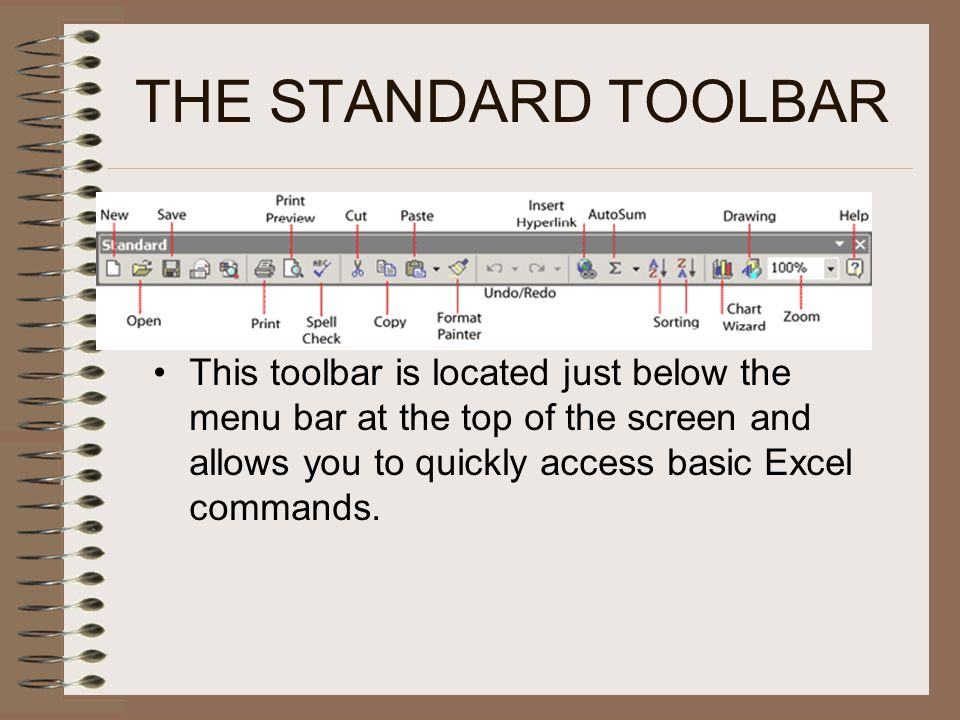 THE STANDARD TOOLBAR This toolbar is located just below the menu bar at the top of the screen and allows you to quickly access basic Excel commands.