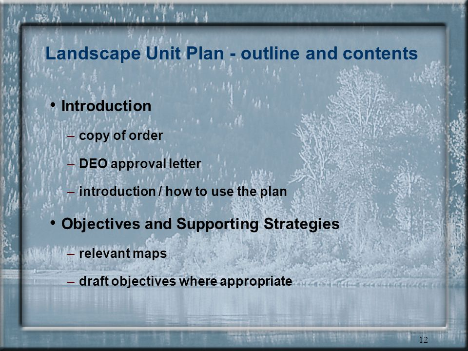 11 Establishing Landscape Unit Objectives
