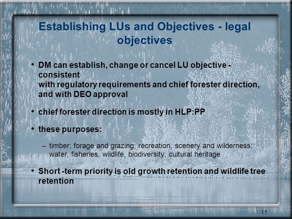 14 Establishing LUs and Objectives - approval formats legally established LU objectives draft LU objectives strategies and other information as advice or guidance