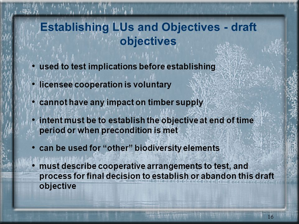 15 Establishing LUs and Objectives - legal objectives DM can establish, change or cancel LU objective - consistent with regulatory requirements and chief forester direction, and with DEO approval chief forester direction is mostly in HLP:PP these purposes: –timber; forage and grazing; recreation, scenery and wilderness; water, fisheries, wildlife, biodiversity, cultural heritage Short -term priority is old growth retention and wildlife tree retention