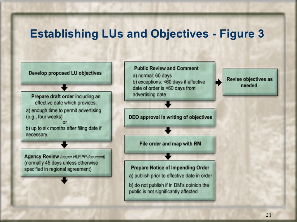 20 Establishing LUs and Objectives - Steps for legal establishment Step 1.develop proposed LU objectives Step 2.prepare an order –determine when unit and objectives will take effect –prepare order establishing the landscape unit and objectives –refer order for agency review Step 3.Conduct public review (if required) Step 4.file order and map with RM Step 5.prepare notice of impending order