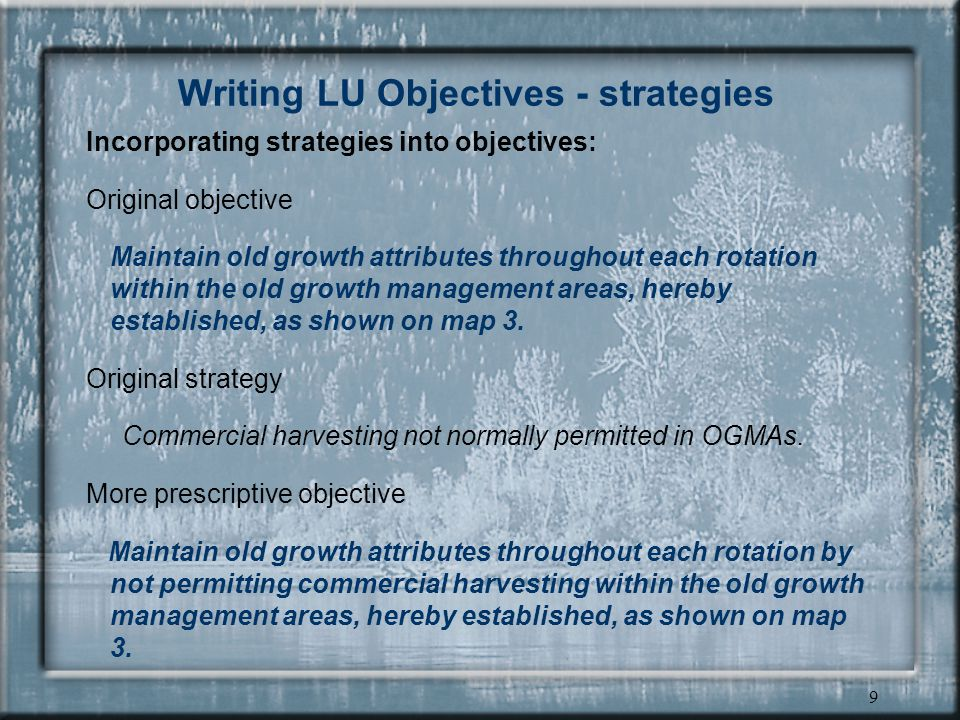 8 Writing LU Objectives - legal significance of strategies strategies are not legally binding if a specific strategy is vital, it should be incorporated into the landscape unit objective