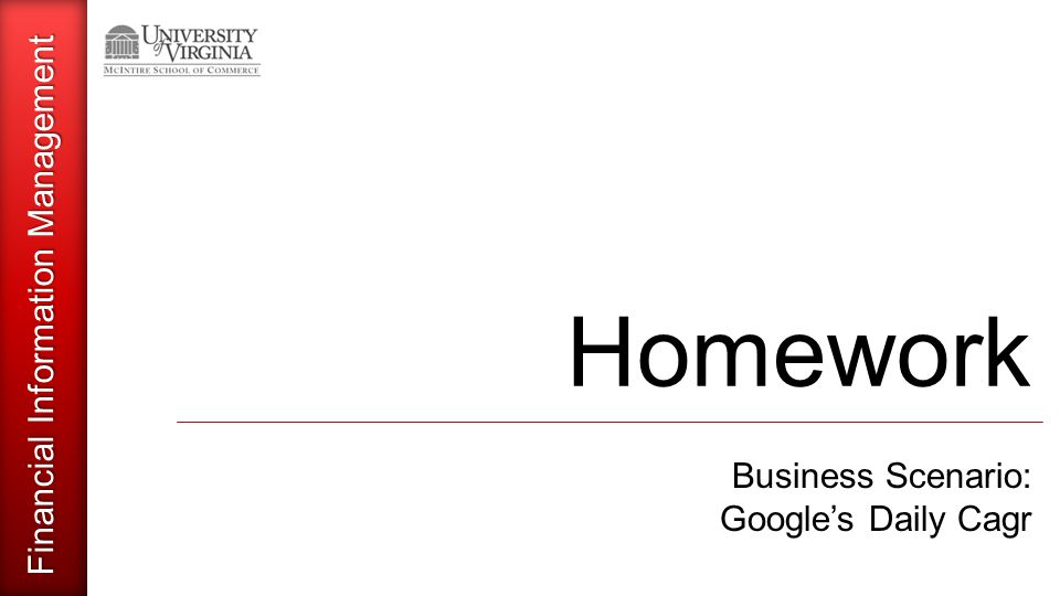 Financial Information Management Homework Business Scenario: Google's Daily Cagr
