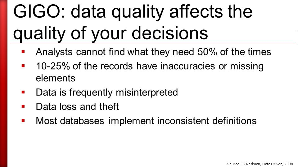 GIGO: data quality affects the quality of your decisions  Analysts cannot find what they need 50% of the times  10-25% of the records have inaccuracies or missing elements  Data is frequently misinterpreted  Data loss and theft  Most databases implement inconsistent definitions Source: T.