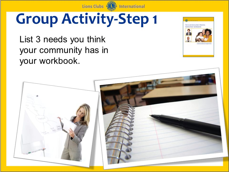Group Activity-Step 1 List 3 needs you think your community has in your workbook.
