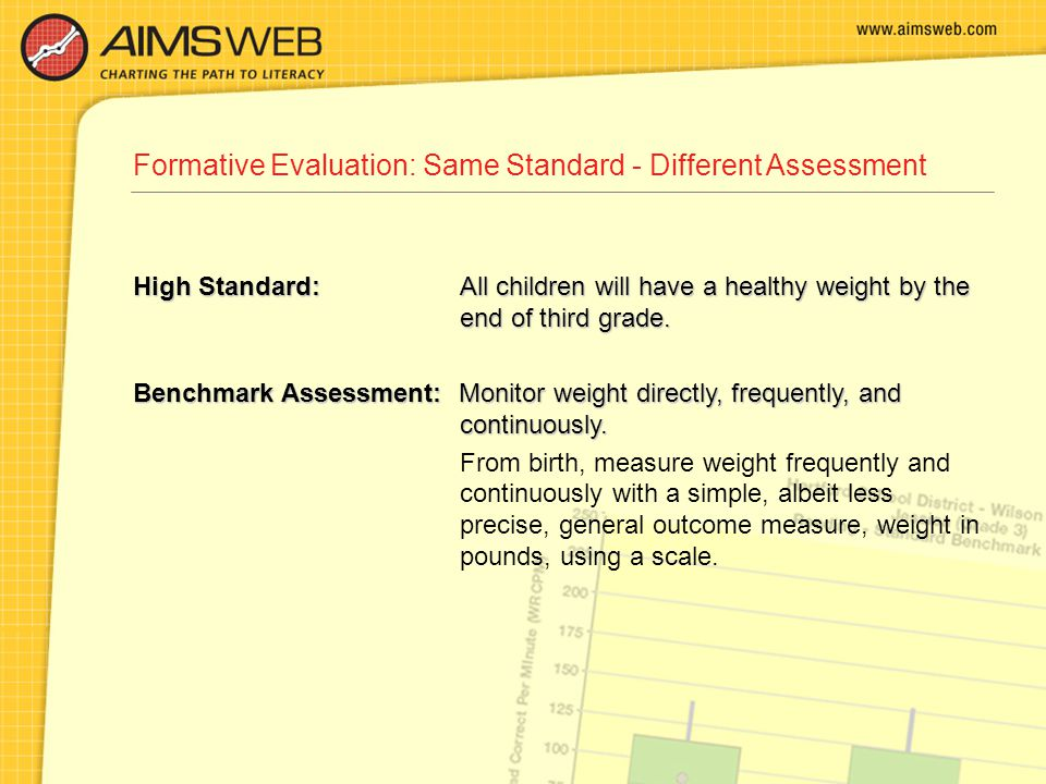 Formative Evaluation: Same Standard - Different Assessment High Standard: All children will have a healthy weight by the end of third grade. Benchmark