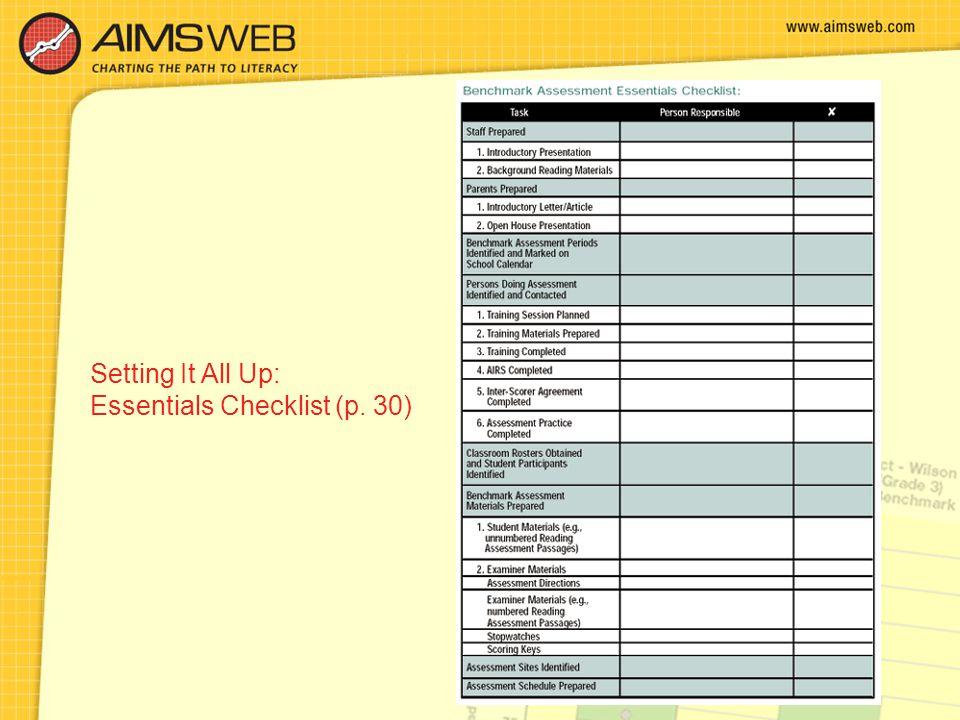 Setting It All Up: Essentials Checklist (p. 30)