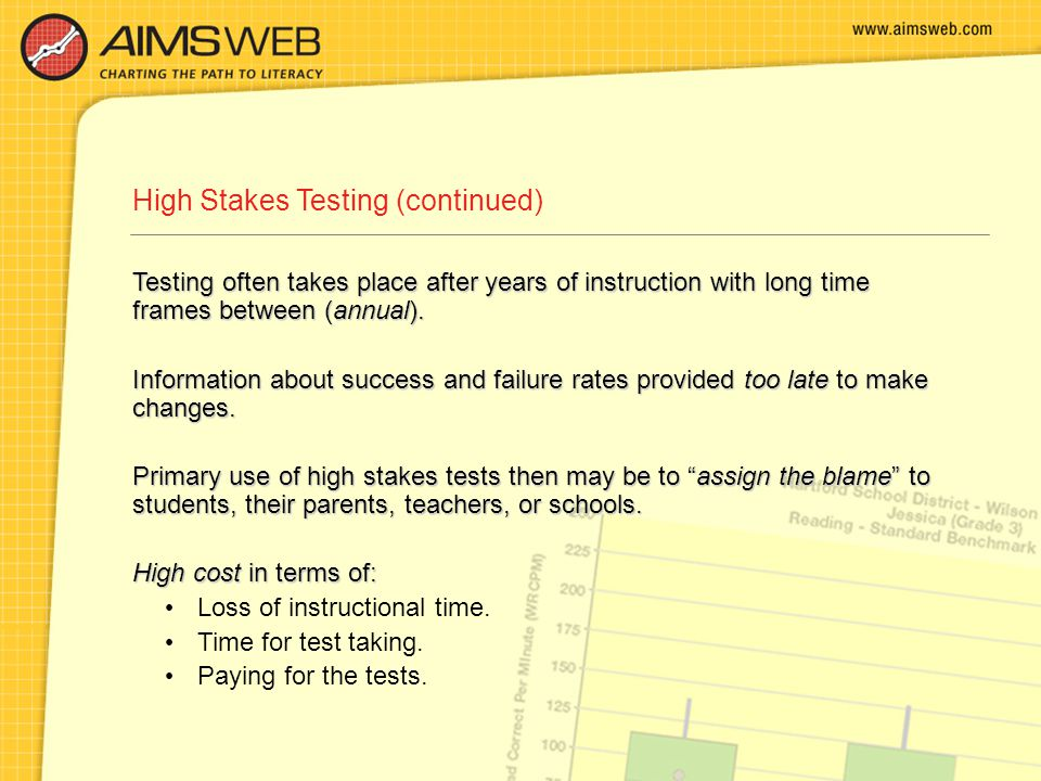 High Stakes Testing (continued) Testing often takes place after years of instruction with long time frames between (annual).