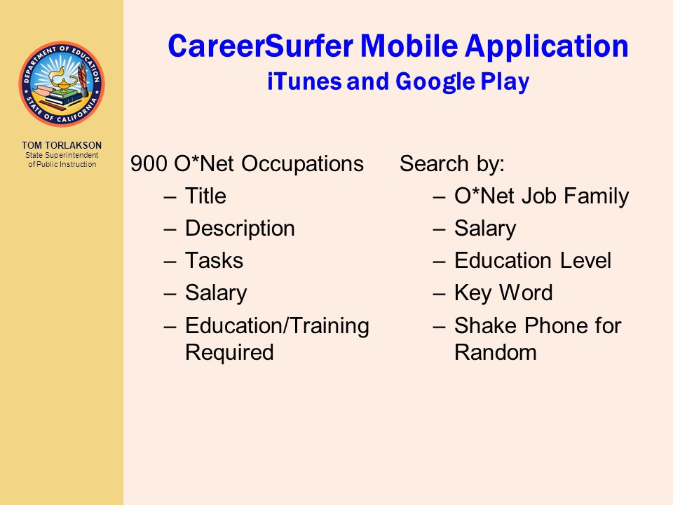TOM TORLAKSON State Superintendent of Public Instruction CareerSurfer Mobile Application iTunes and Google Play 900 O*Net Occupations –Title –Description –Tasks –Salary –Education/Training Required Search by: –O*Net Job Family –Salary –Education Level –Key Word –Shake Phone for Random