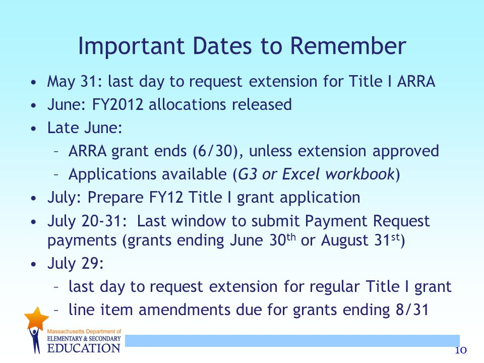 10 Important Dates to Remember May 31: last day to request extension for Title I ARRA June: FY2012 allocations released Late June: –ARRA grant ends (6