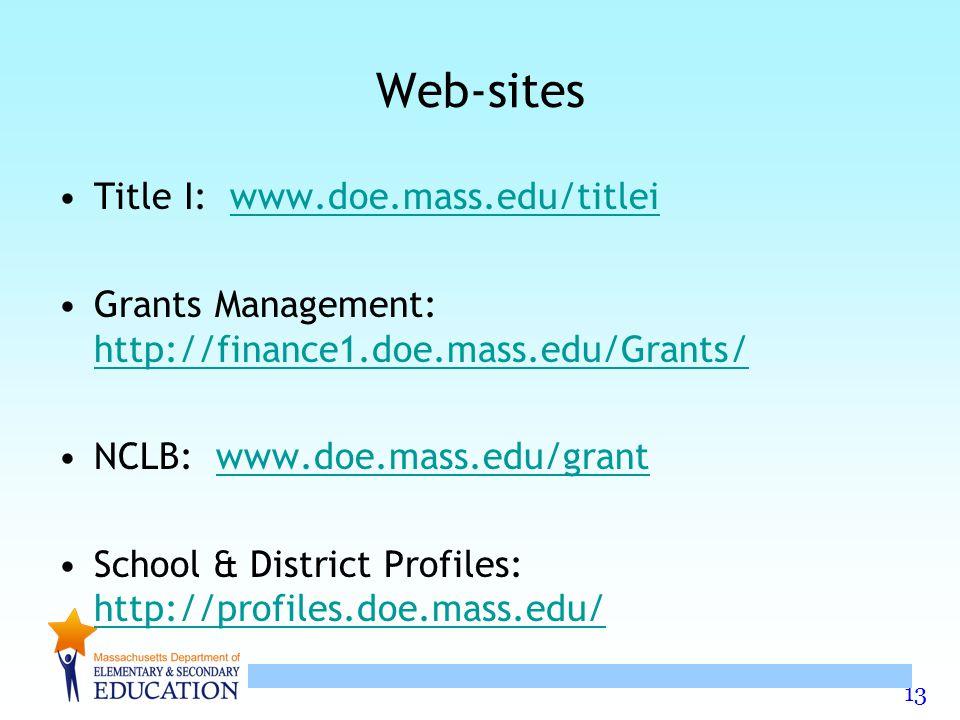 13 Web-sites Title I: www.doe.mass.edu/titleiwww.doe.mass.edu/titlei Grants Management: http://finance1.doe.mass.edu/Grants/ http://finance1.doe.mass.