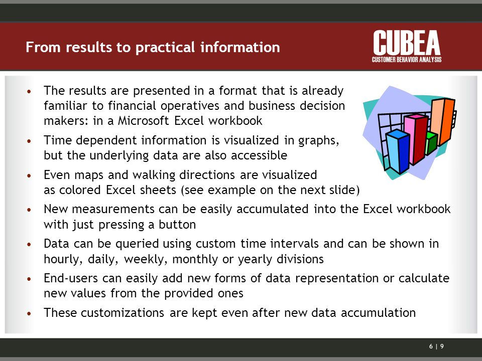 From results to practical information The results are presented in a format that is already familiar to financial operatives and business decision makers: in a Microsoft Excel workbook Time dependent information is visualized in graphs, but the underlying data are also accessible Even maps and walking directions are visualized as colored Excel sheets (see example on the next slide) New measurements can be easily accumulated into the Excel workbook with just pressing a button Data can be queried using custom time intervals and can be shown in hourly, daily, weekly, monthly or yearly divisions End-users can easily add new forms of data representation or calculate new values from the provided ones These customizations are kept even after new data accumulation 6 | 9